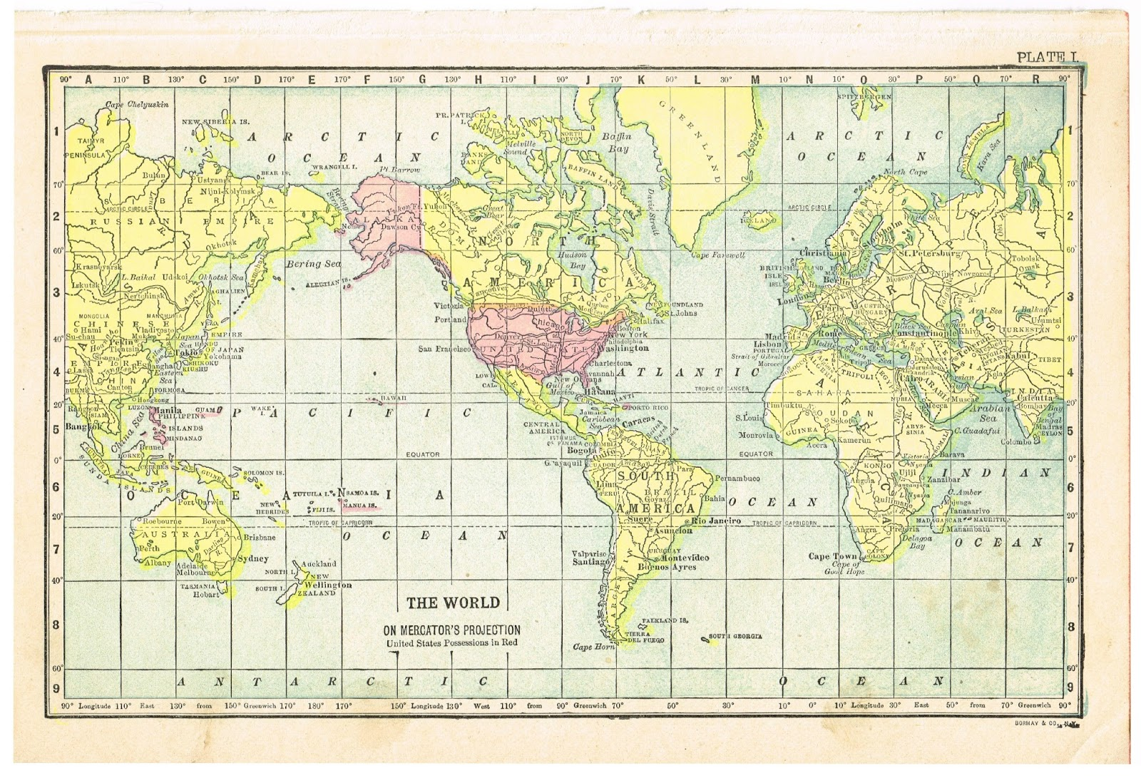 Antique Graphics Wednesday 1900 39 s Maps of the World ALL 50 States