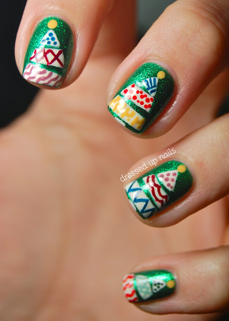 Dressed Up Nails - Funky Christmas tree nail art on China Glaze Running in Circles