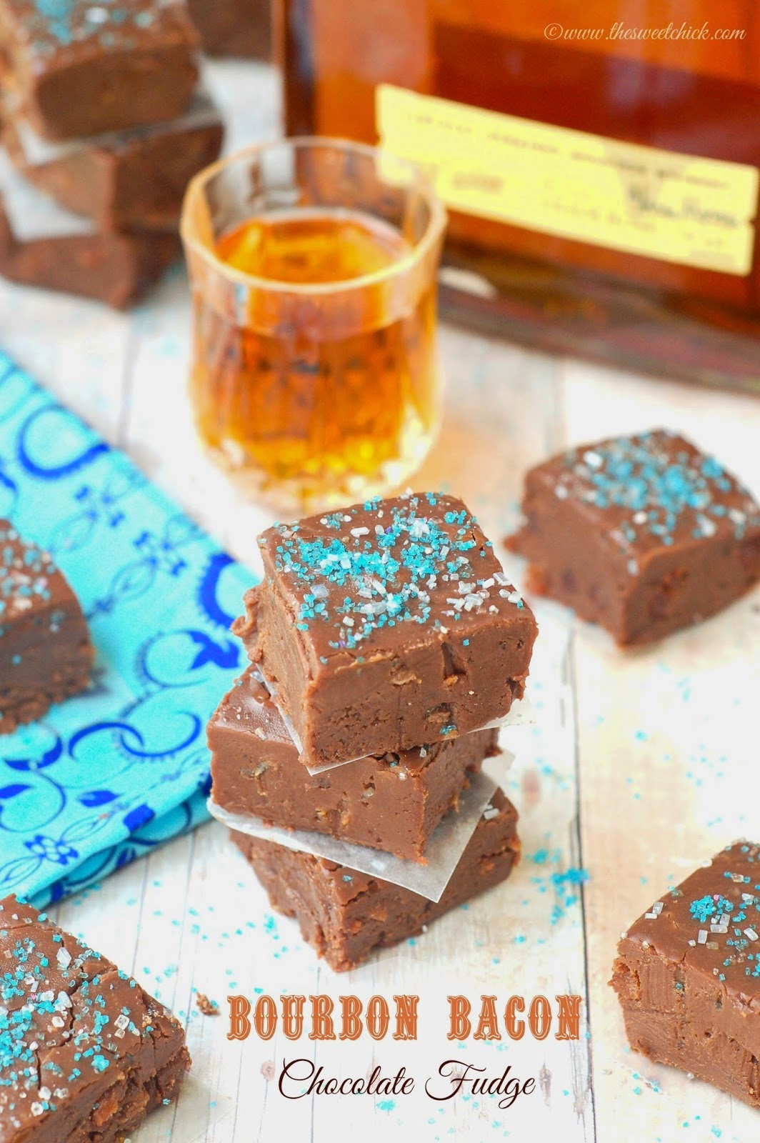 Bourbon Bacon Fudge @www.thesweetchick.com
