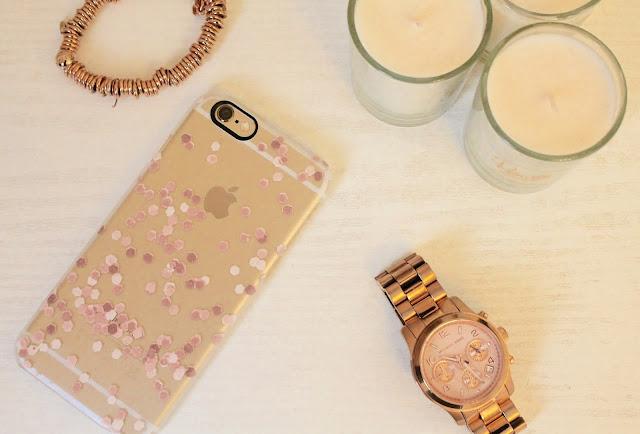 Monika Strigel Rose Gold Faux Glitter iPhone 6 Case.