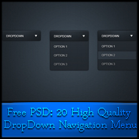Free PSD: 20 High Quality Drop-Down Navigation Menu