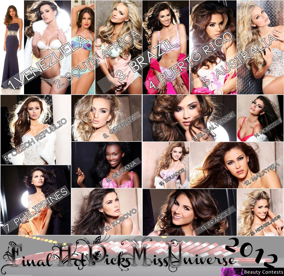 MISS UNIVERSE 2012 FINAL HOT PICKS - By Beauty Contests Blog