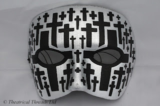 Zombie Black & Silver Masquerade Ball Mask from Theatrical Threads Ltd