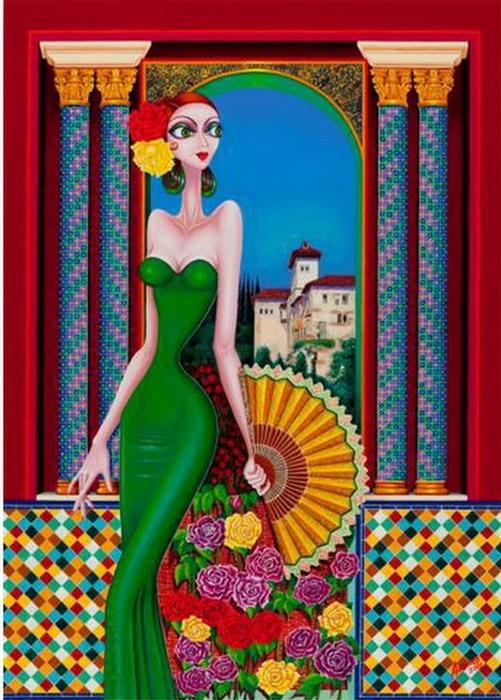 Im genes arte pinturas hermosas bailarinas de flamenco cuadros modernos y coloridos - Cuadros de meninas modernos ...