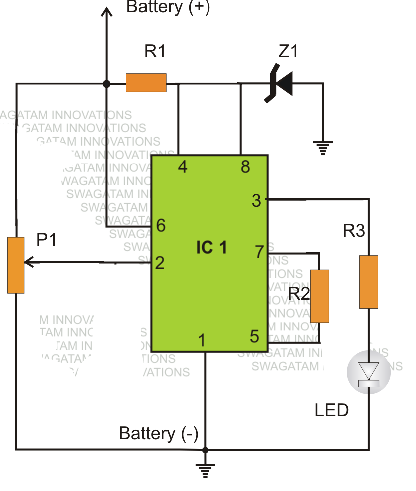 Simple Low Battery Indicator Circuit Using IC   Electronic - 12v low voltage protection relay