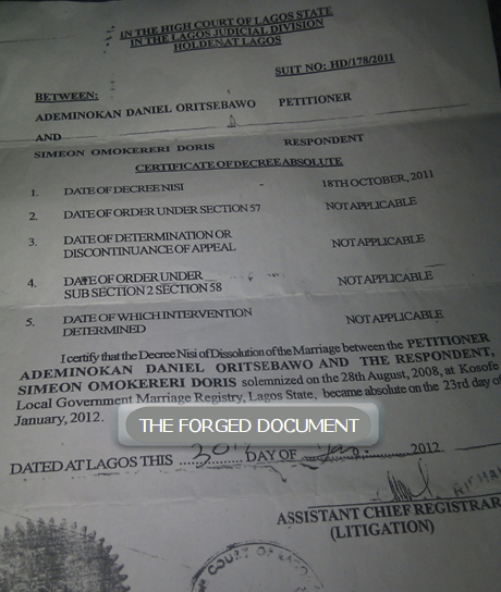 daniel ademinokan fake divorce paper