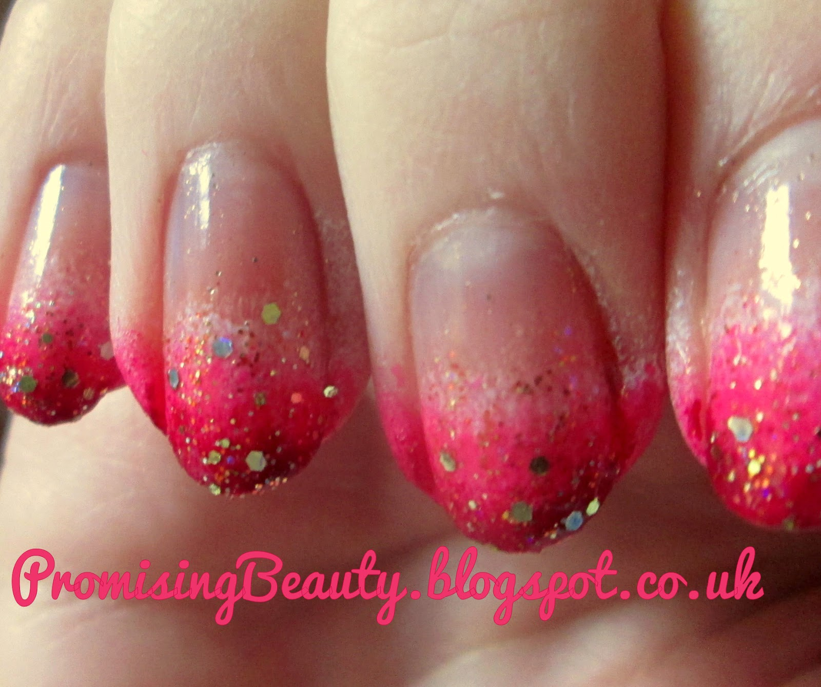 Valentines day pink ombre nails with Barry M yellow topaz glitter. Valentines day nail art manicure