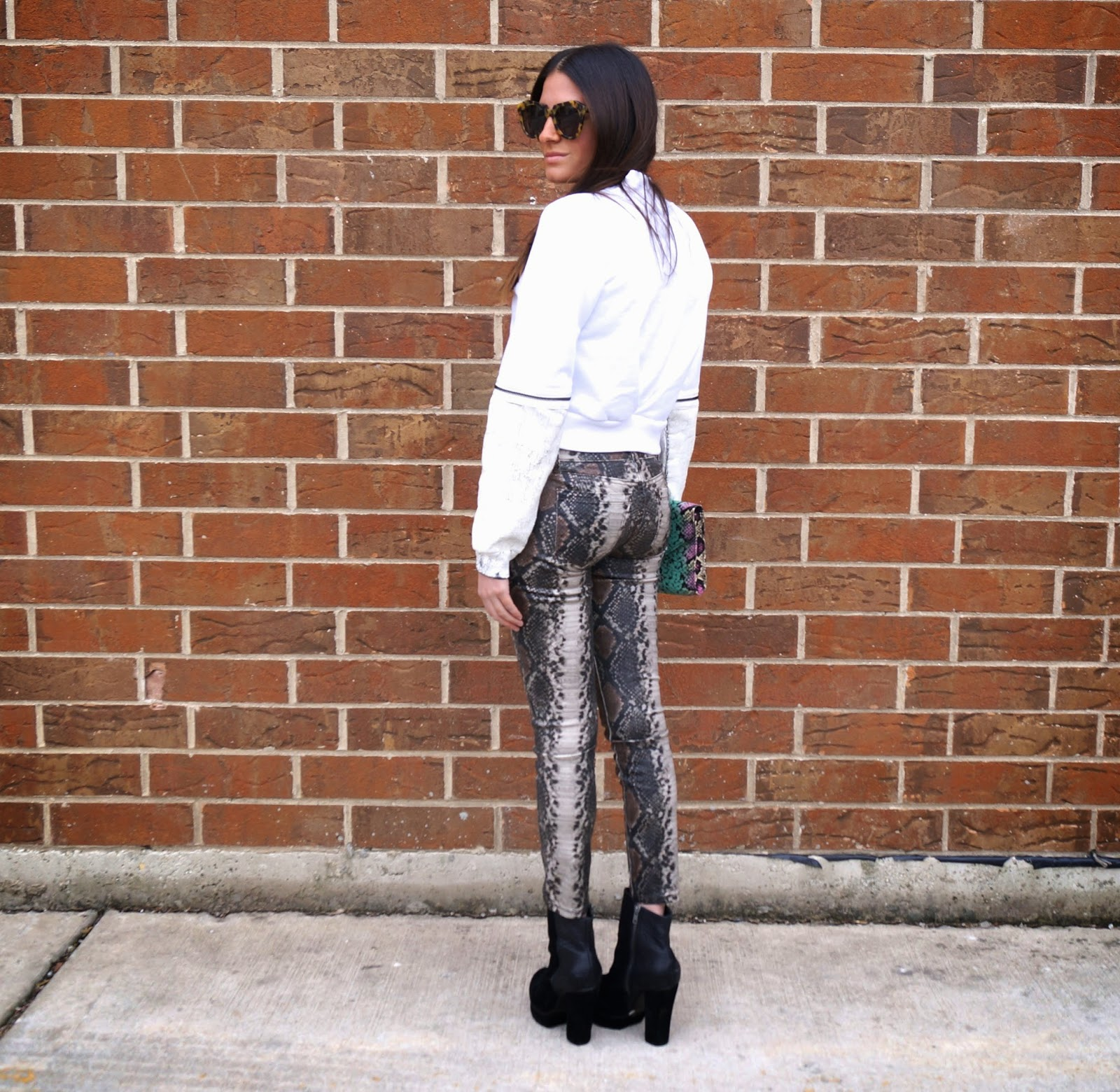faux snake skin jeans
