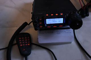 FT-857:ans display kan ställas in i massa olika färger. Här nr 16 som är lite blåaktig.