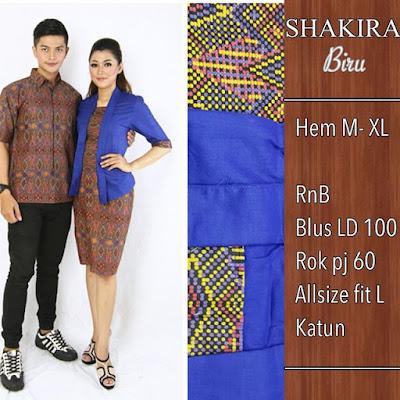 Baju Batik Pasangan Shakira Biru SP8097