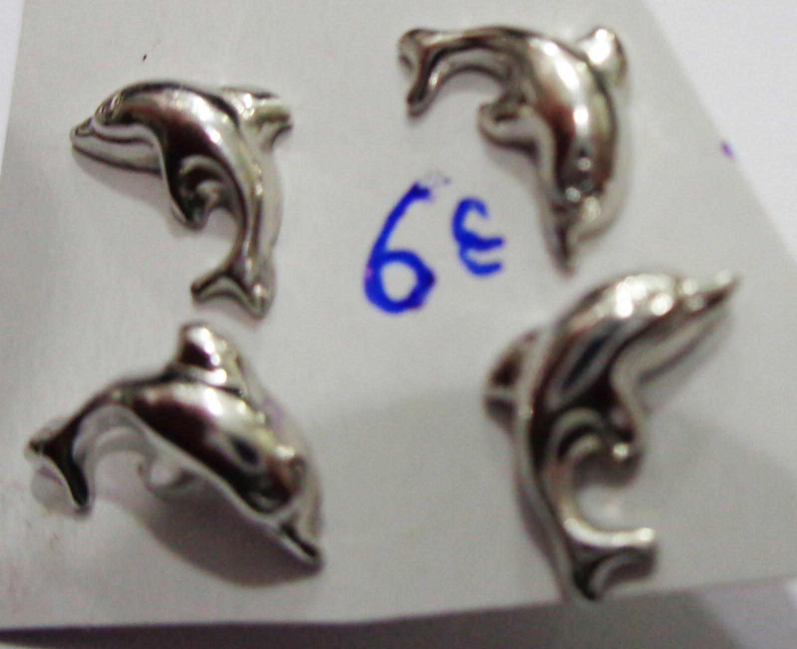Pendientes de plata con forma de delfín