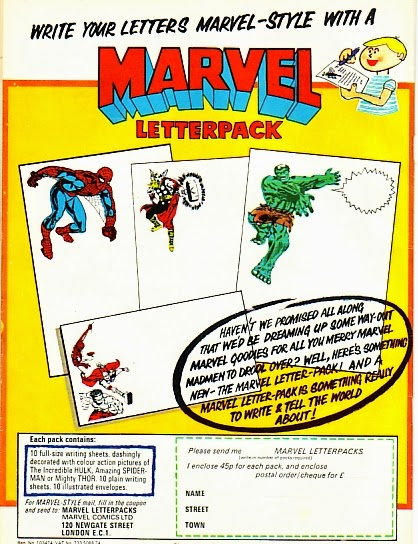 1970s Marvel Comics letterpack, Spider-Man, Thor, Hulk