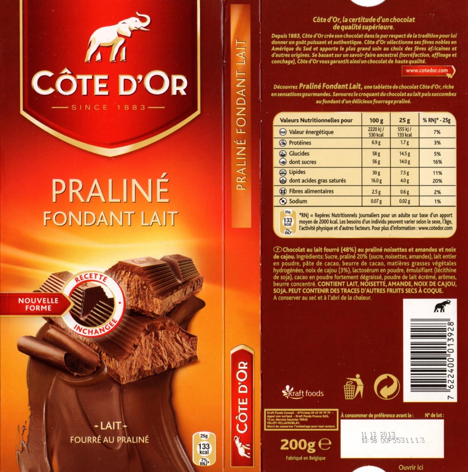 tablette de chocolat lait fourré côte d'or praliné fondant lait