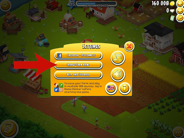 how do i change hay day farm name