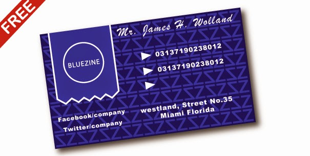 free download blue business card template