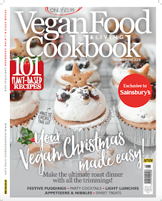 I am the front cover of Vegan Food + Living Christmas 2018