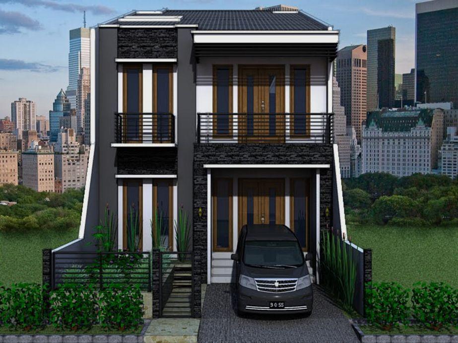 contoh rumah tingkat minimalis modern tampak depan