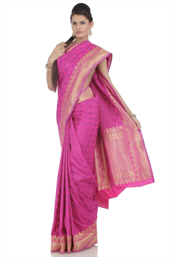 Rose Violet Georgette Banarasi Saree