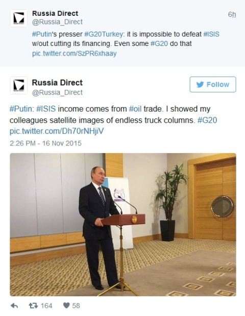 russia direct tweet by Putin