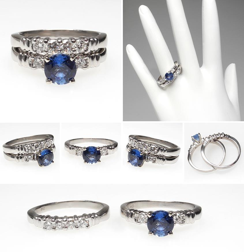 Sapphire Wedding Ring Sets Blue Sapphire Diamond Engagement Ring Bridal Set Platinum Rings