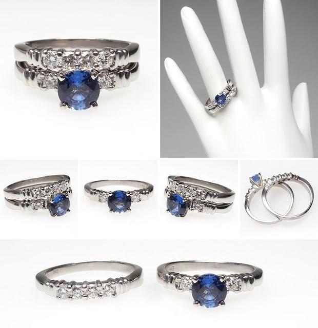 MEHANDI DESIGNS WORLD Blue Sapphire Diamond Engagement Ring