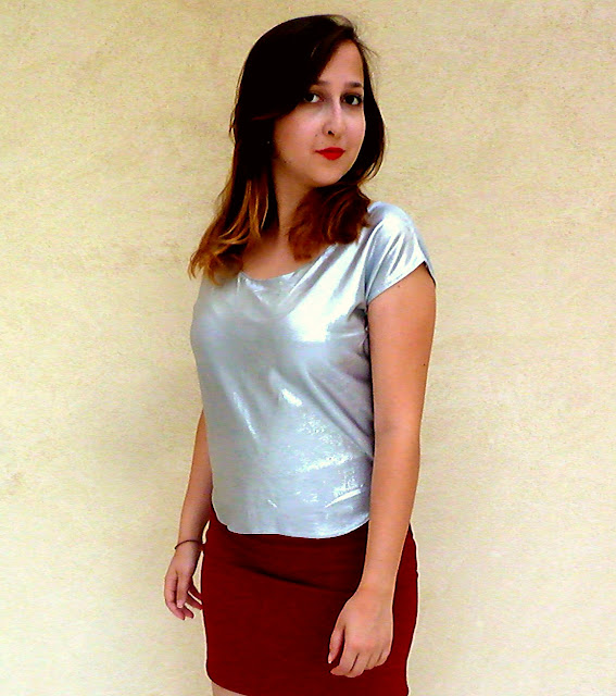 silver shirt, metallic shirt