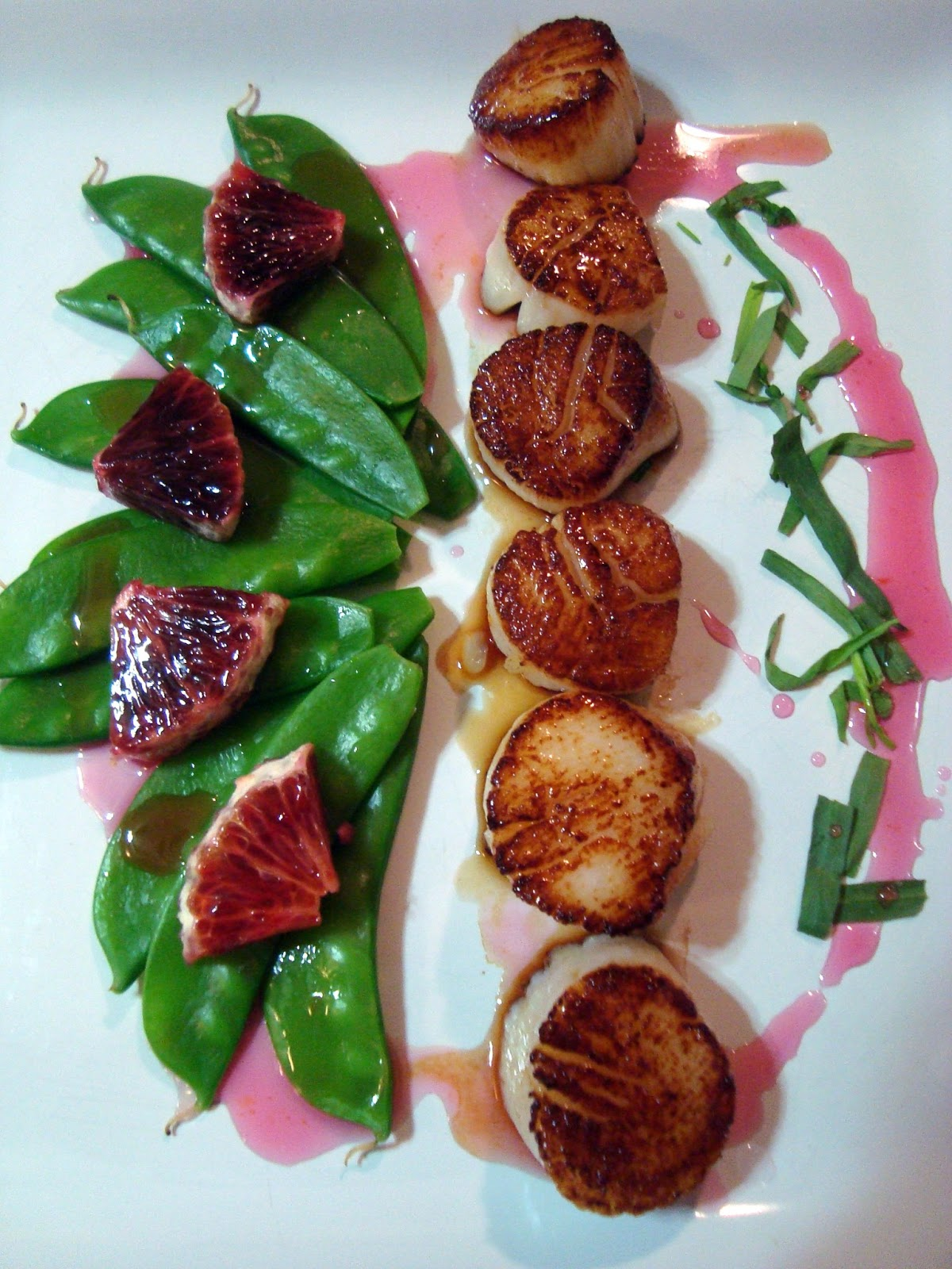 a couple in the kitchen: seared scallops with blood orange