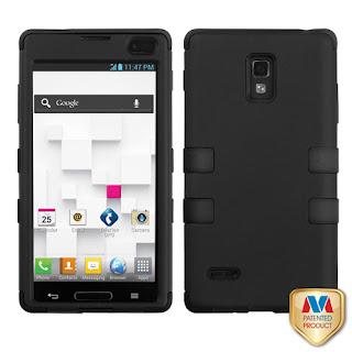 2 Layer Plastic Silicone Black Snap On Case Accessories LG Optimus L9 P769