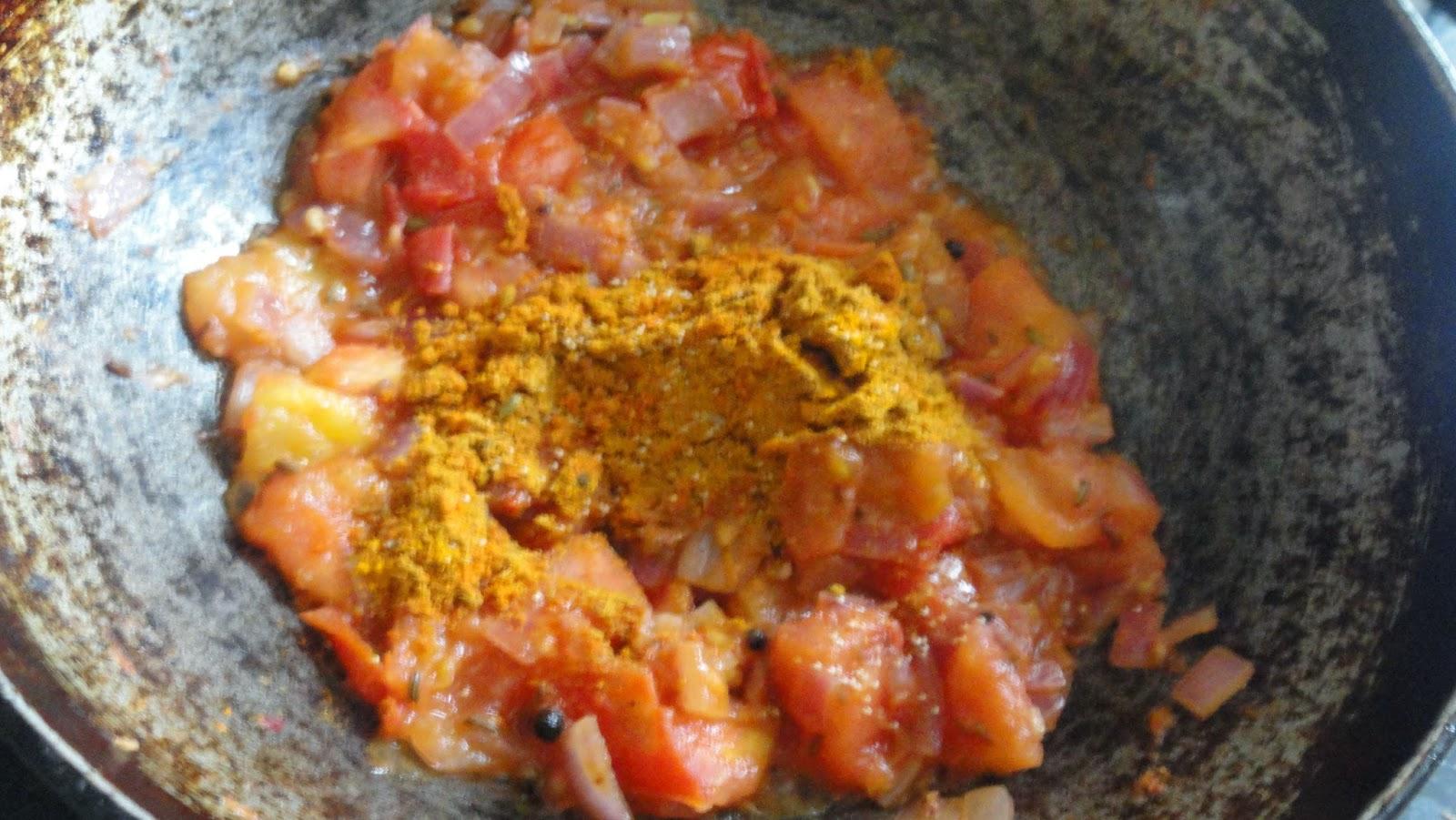 parotta salna.saute tomatoes