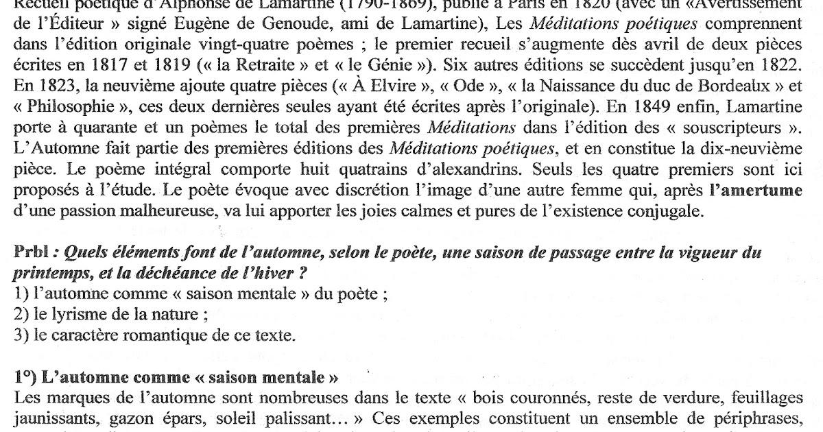 L'automne - Lamartine (analyse)   Première S2 2011-2012