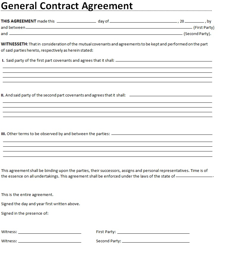 general contract agreement word template general contract agreement