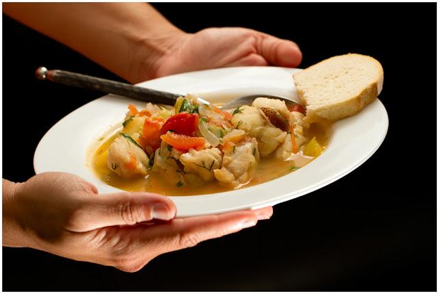 A photograph of Kakavia (Aegean Fish Stew)