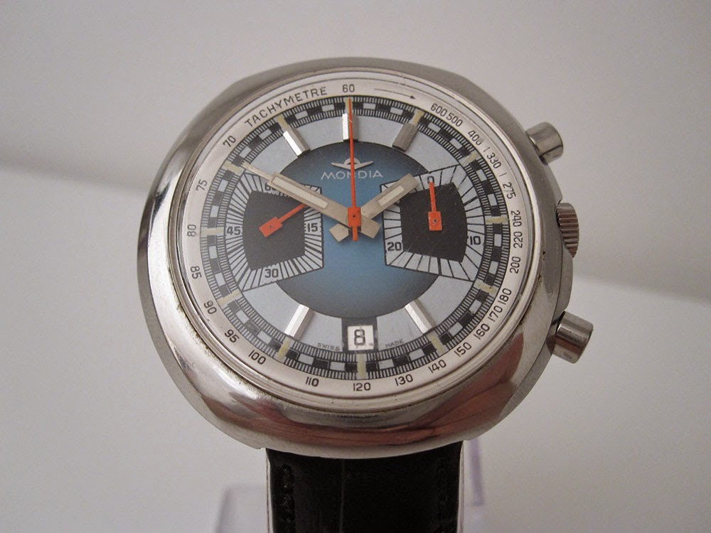 Mondia chronograph from the 70ies, awesome looking case and dial!