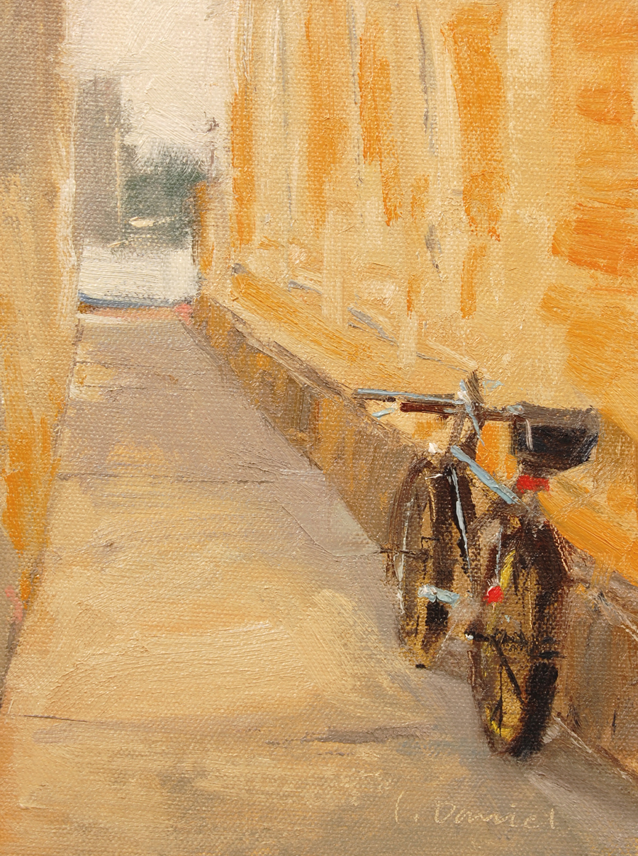 Bicycle Alley, 8 x 6, oil on panel, L. Daniel © 2012