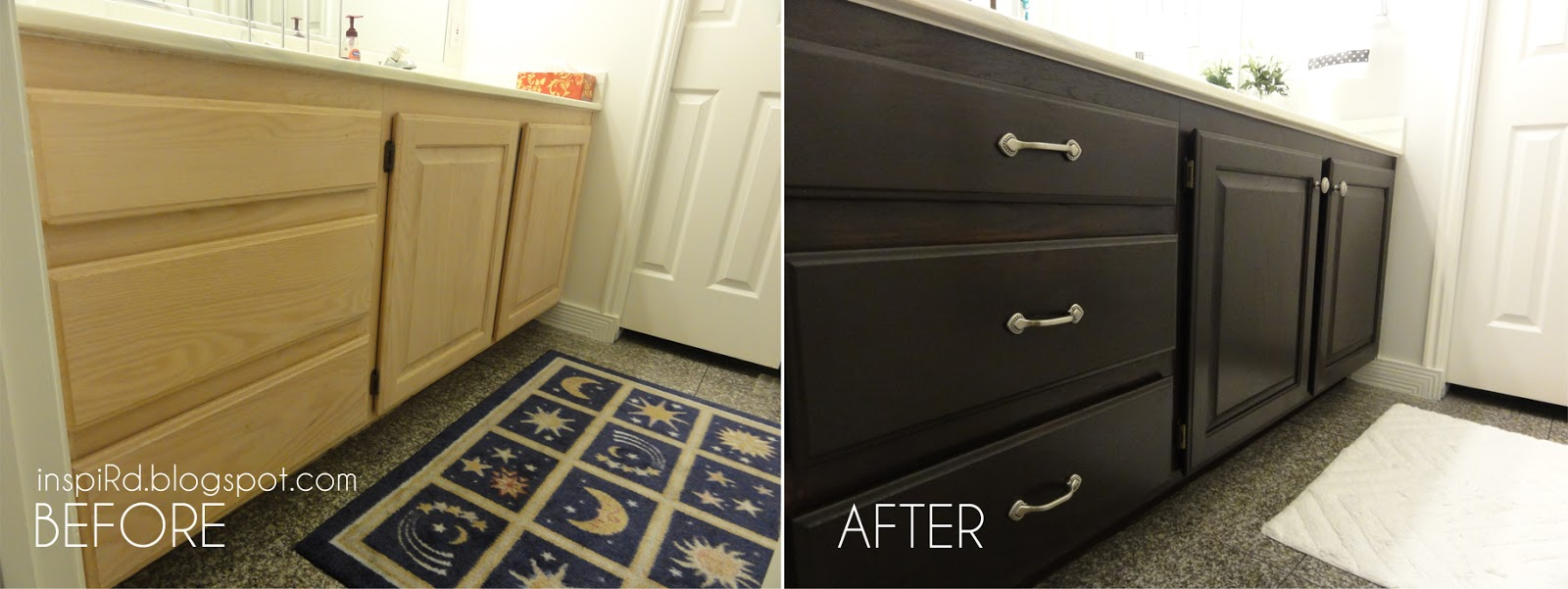 inspird staining bathroom cabinets my diy project