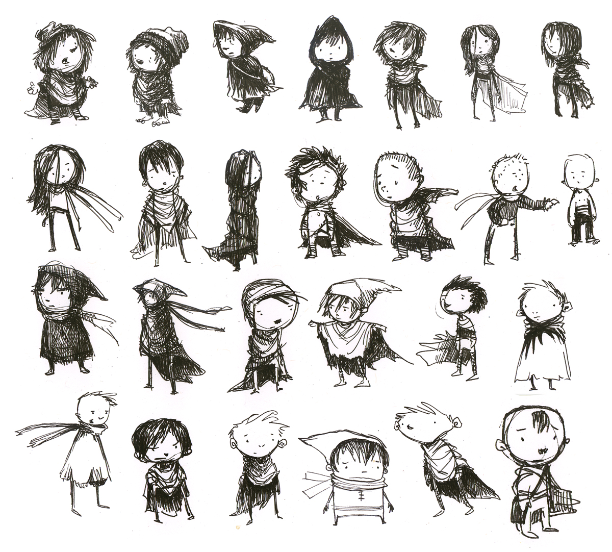 Some exploratory sketches of the lonely boy made during the development of sand