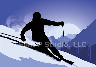 mountain skiing vector art