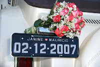 placa carro da noiva