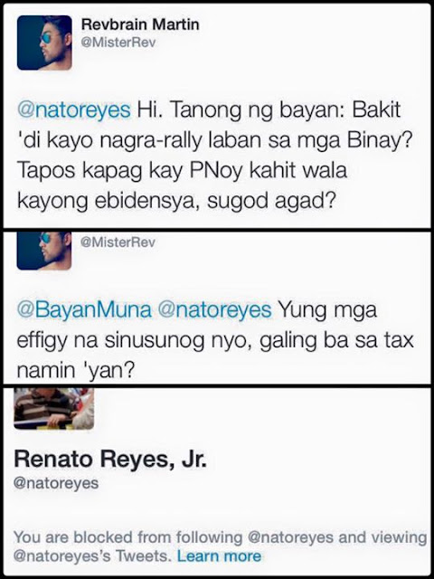 Renat Reyes, Jr. responded to Revbrain Martin's answers by blocking him