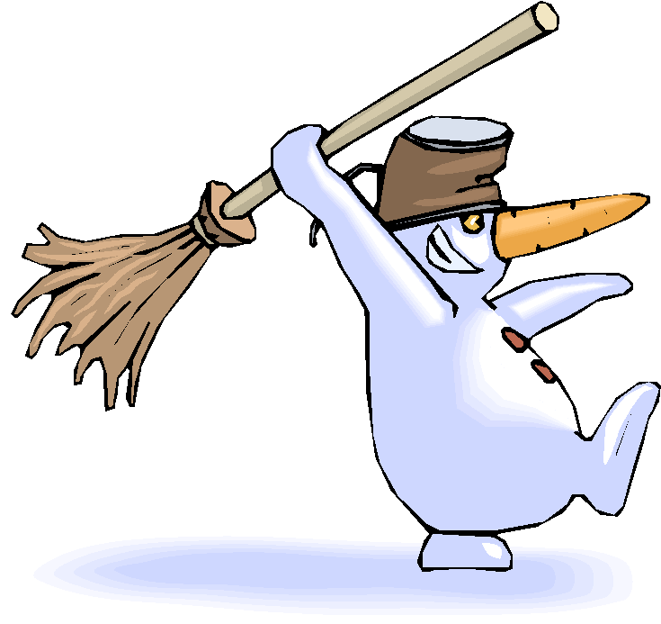Snowman Hold Broom Fantasy Clipart