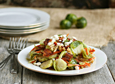 Brussels Sprout Salad with Bacon and Walnuts