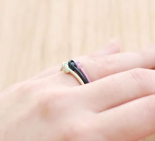 Dark green stacking ring, light purple leather ring on Etsy, handmade mint leather ring, unique fun rings from Etsy