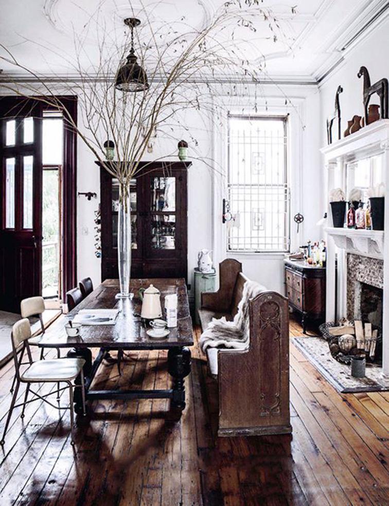 Rustic dining room, home decor, cozy interior