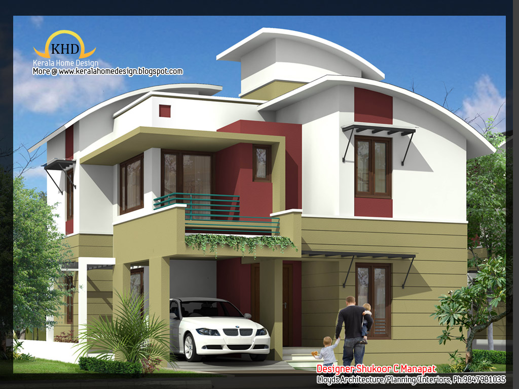 2035 Sq  Ft 4 Bedroom Contemporary Villa Elevation and Plan   home