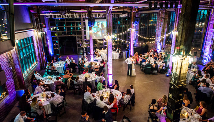 Wedding celebration at Steam Whistle's Roundhouse