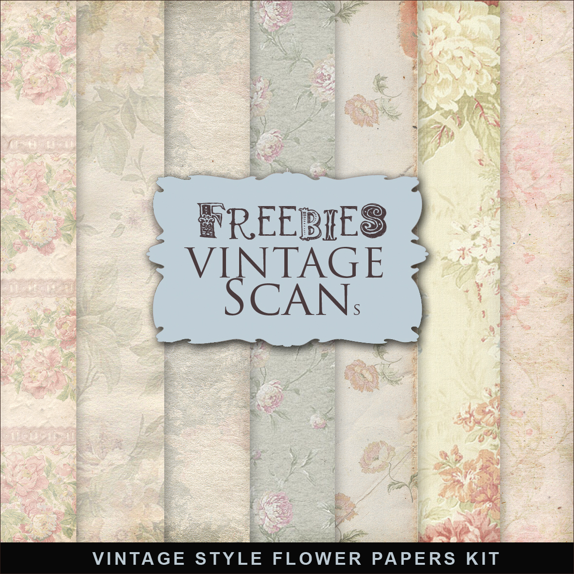 Freebies Kit Of Vintage Style Flower Papers:Far Far Hill