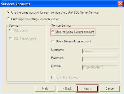 "Coloque ""Local System Account"""