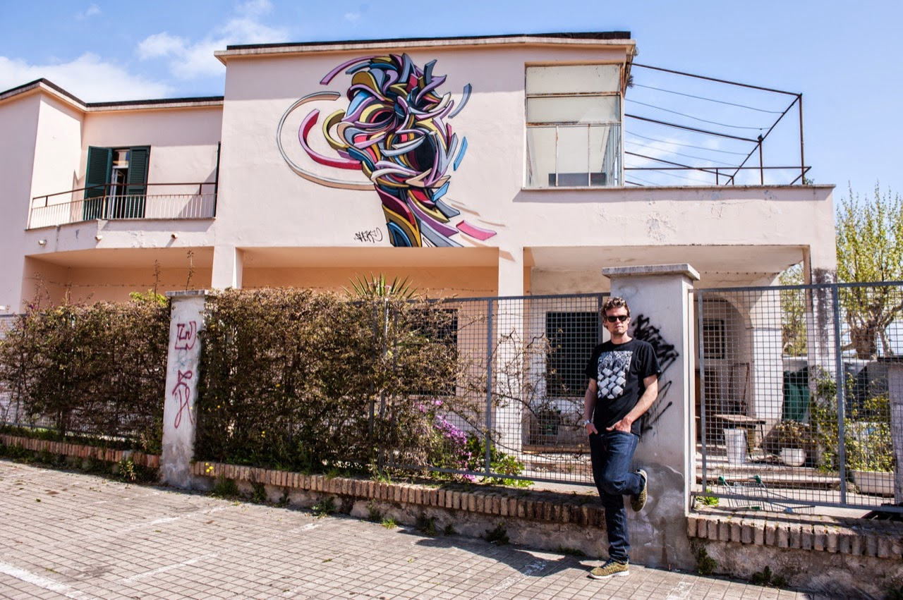 While we last heard from him a little while ago in Evry, France, Shaka has now landed in Italy where he was invited to paint for the Memorie Urbane Street Art Festival.