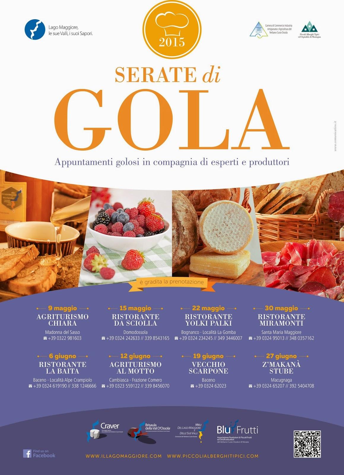 Serate di Gola  fino al 27 giugno  Lago Maggiore