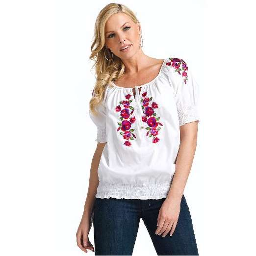 red embroidery work top blouse